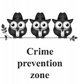 Monochrome comical crime prevention zone USA version isolated on white background poster