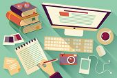 Flat design objects, work desk, long shadow, office desk, computer and stationery poster