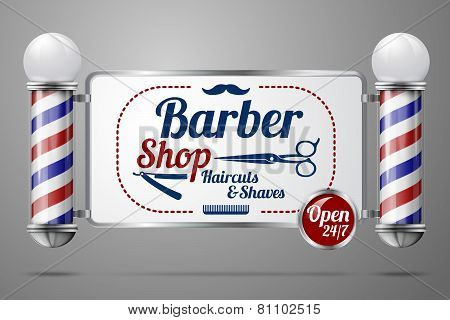 Realistic vector - two old fashioned vintage silver and glass barber shop poles holding Barber Sign. Isolated on grey background, for design and branding. poster