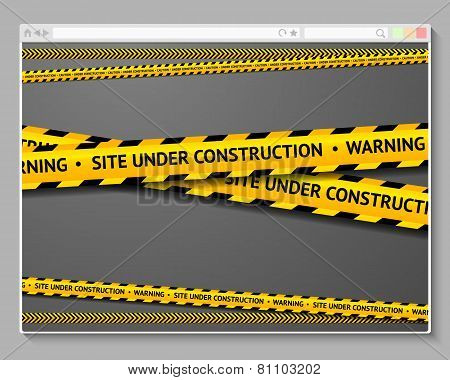 Caution tape in browser with words - Site Under Construction.