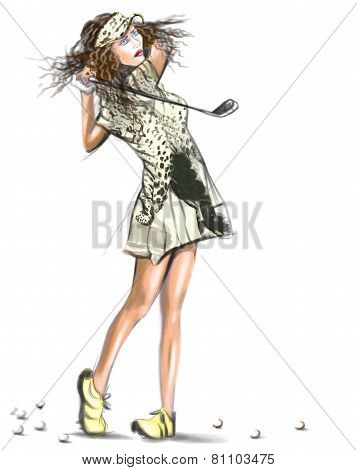 Beautiful Golf Player - An Hand Drawn And Painted Illustration