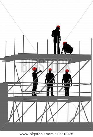Werknemers op dais