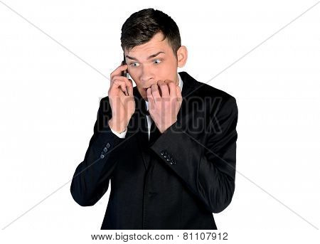 Isolated business man afraid talk phone