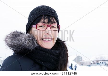 Winter Portrait Of Middle-aged Woman