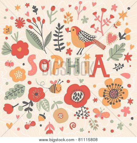 Bright card with beautiful name Sophia in poppy flowers, bees and butterflies. Awesome female name design in bright colors. Tremendous vector background for fabulous designs