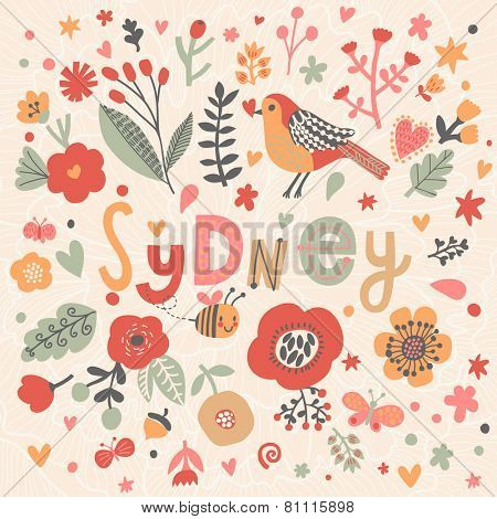 Bright card with beautiful name Sydney in poppy flowers, bees and butterflies. Awesome female name design in bright colors. Tremendous vector background for fabulous designs