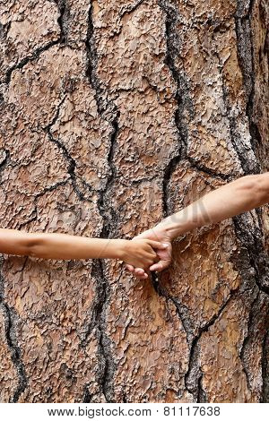 Nature Earth lovers - tree huggers holding hands around bark embracing Mother nature. Eco friendly concept showing environment conservation issues.