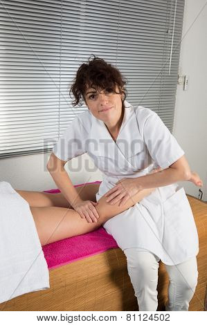 Closeup Of Leg Receiving Massage