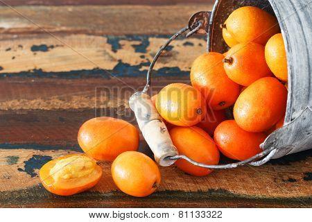 Fruit Jocote (red Mombin, Purple Mombin, Hog Plum, Ciruela Huesito, Sineguela,  Siriguela) In Bucket