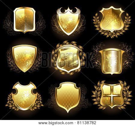 Set Of Golden Shields
