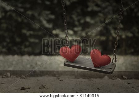 Fabric Red Heart On Damage Metal Playground Swing