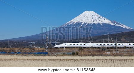 Mountain Fuji and Shinkansen bullet train