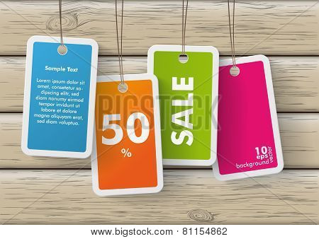 Four Colored Price Sticker Wood