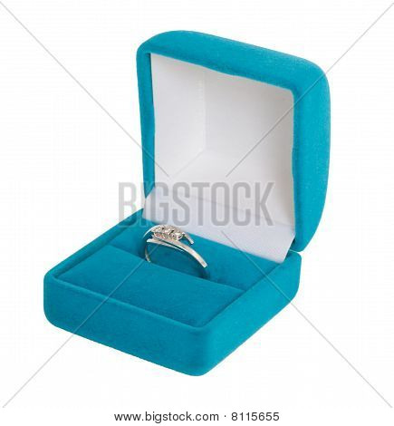 White Gold Ring With Three Diamonds In Blue Casket