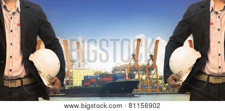 Working Man In Port Authority Use For Shipping ,logistic,vessel,nautical And Marine Transport,contai
