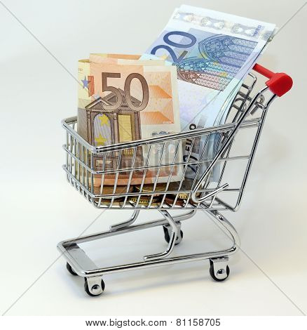 Shopping Cart Full Of Euro Banknotes