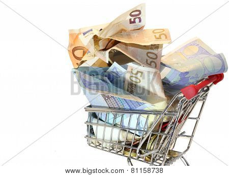 Shopping Cart Full Of Crumpled Euro Banknotes