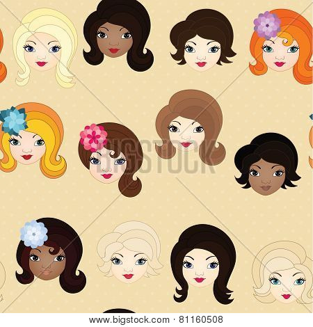Seamless pattern with doll faces