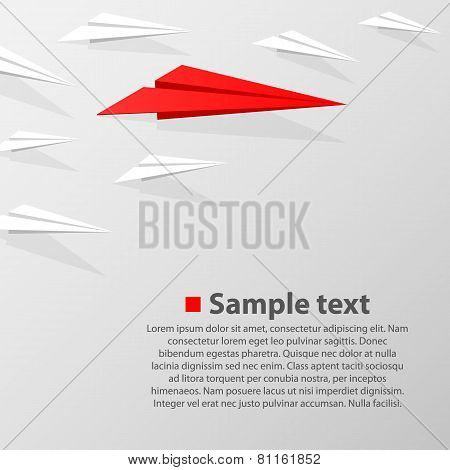 row of paper airplanes with a leader. Vector illustration poster