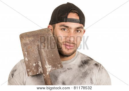 young muscular latin construction worker holding shovel isolated on white poster