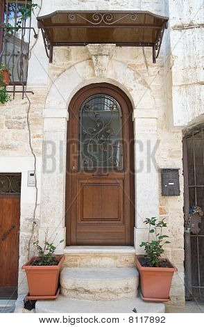 Perspective of a wooden door with flowerpot. poster