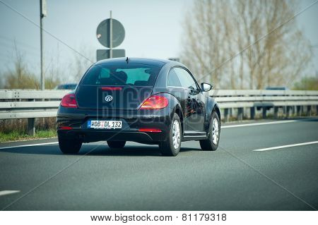 VW Beetle on German Autobahn