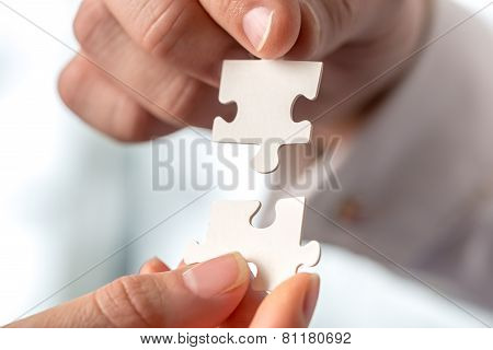 Two Businesspeople Fitting Together Puzzle Pieces