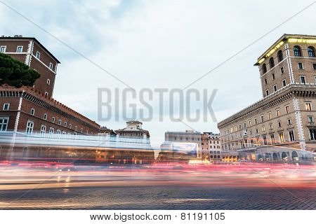 light of car traffic on Piazza Venezia