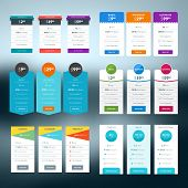 Set of vector pricing table in flat design style for websites and applications poster