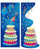 Two background or border vector illustrations for birthday, anniversary and party celebrations. Candles, cake, streamers and background on separate layers for easy editing. poster