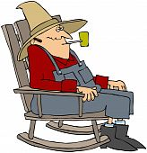 This illustration depicts an old man sitting a rocking chair smoking a pipe. poster