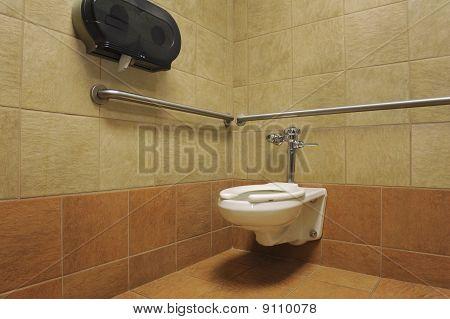 porcelain toilet in a public restroom