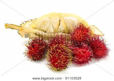 Durian And Rambutan Fruits Isolated On White Background
