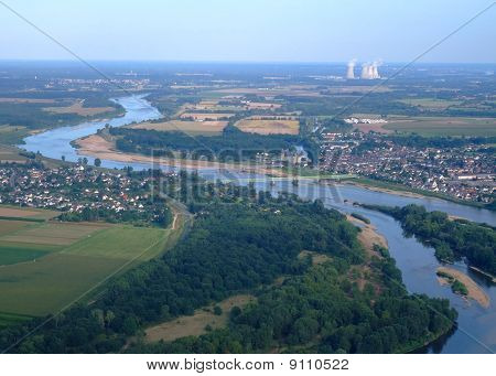 Aerial view of Loire river at Sully