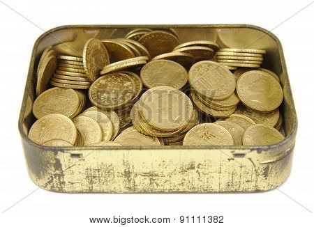 Bunch of old Spanish coins in a golden box isolated on a white background. One peseta.