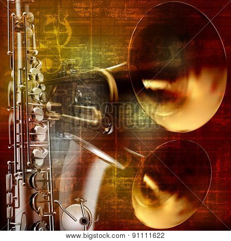 Abstract Grunge Sound Background With Trumpets And Saxophone