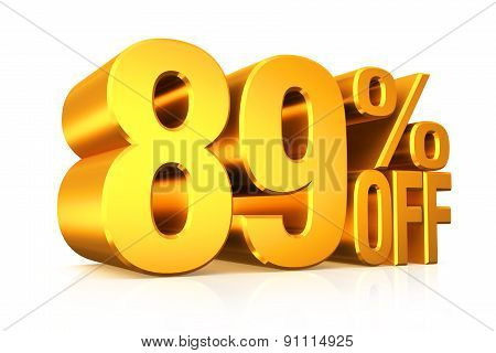 3D render gold text 89 percent off on white background with reflection. poster