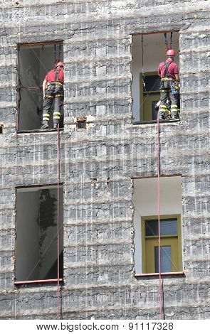 Firefighters During Rescue Drills In The Firehouse
