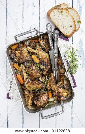 French chicken stew in red wine - Coq au Vin