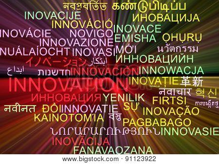 Background concept wordcloud multilanguage international many language illustration of innovation glowing light