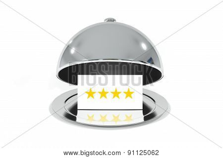 opened silver cloche with white sign four stars rating