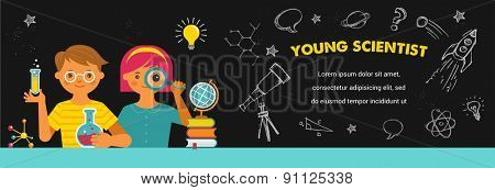 Young scientist. Research, Bio Technology, Chemical laboratory and education illustration