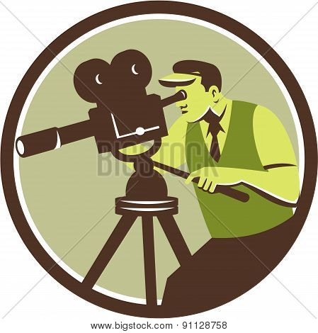 Illustration of a cameraman movie director with vintage camera filming shooting looking into lens viewed from the side set inside circle done in retro style. poster