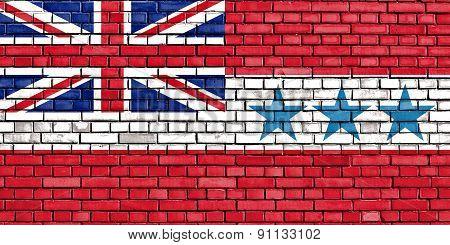 Flag Of Kingdom Of Rarotonga Painted On Brick Wall