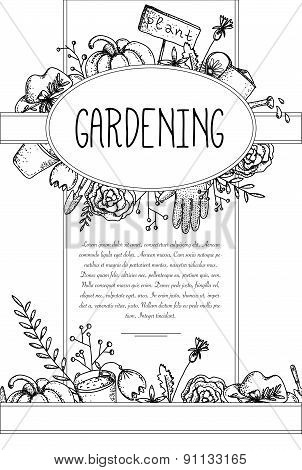 Vector card with retro garden elements