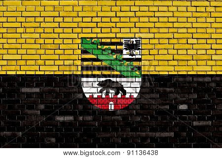 Flag Of Saxony Anhalt Painted On Brick Wall