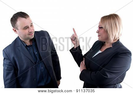 Photo of boss rebukes employee