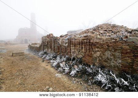Belchite village destroyed in a bombing during the Spanish Civil War, Saragossa, Aragon, Spain. poster