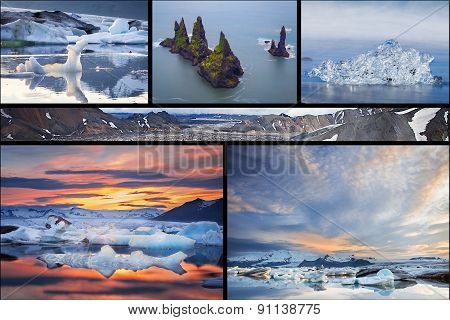 Icelandic landscapes collage