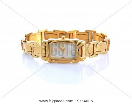 Gold Woman Watch Isolated On White